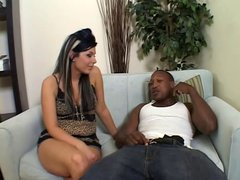 Stunning Latina with a phat ass gives black guy head on the couch