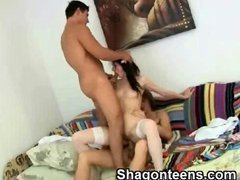 Threesome Teen Banged In Doggystyle And Oral