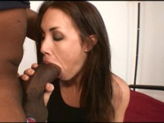 Brunette slut loves a big black cock between her legs