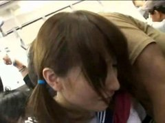 Shy Schoolgirl gangbanged in a public train