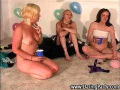 Dirty teen lesbians eat pussy at real party