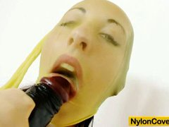 Claire nylon mask and huge dildo