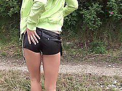 Billy Raise girl on sexy vacation gets nailed her body outdoor with her green dildo.