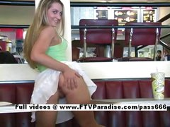 Stunning Viktoria blonde girl public flashing tits and pussy