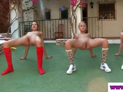 These half naked teens get totally undressed and do exercises