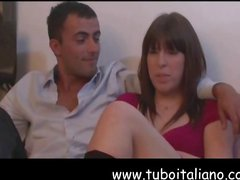 Young brunette French housewife and her husband fuck on cam for the first time