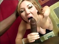 Busty Claire Dames sucks this big black cock and takes it deep