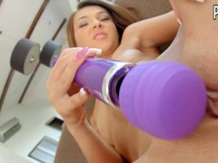 Euro cutie Alexis Brill enjoys her toy