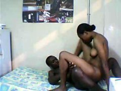 Black couple in hot homemade