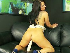 Brunette hottie Casey Cumz is not afraid of really huge dildos. Her hungry pussy willingly opens to get this giant toy and Casey achieves powerful pleasure!
