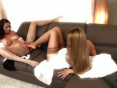 Nylon feet lesbian fetish clip with Brandy Smile and Nicole Smith would take your breath away. Cuties in stockings are sucking toes and licking soles of each other first of all...