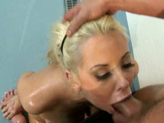 Busty blonde oils her tits before fucking