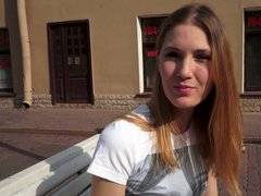 Skinny redheaded teen first casting
