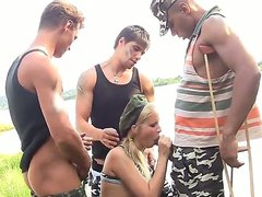 This chick loves guys in military uniform very much. That is why she couldnt resist when three soldiers who were passing by offered her to have group sex. Now they fuck her hard.