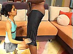 Skinny Latina fucked by Big Black Cock on the couch. The boys cock is the same size as her sexy hand.