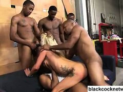 Interracial gangbang with 5 black men and 1 blonde