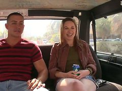 Pale amateur brunette Evelyn Jacobs with long legs in short denim skirt has some fun in bang bus with handsome stud and takes on his meaty pecker with big smile on face.