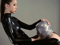 sleek strapon lesbians in mask playing