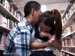 Asian schoolgirl gets horny cunt teased upskirt in library