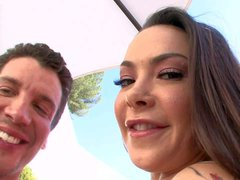 Naturally buxom milf Sophia Santi shows off her jugs before
