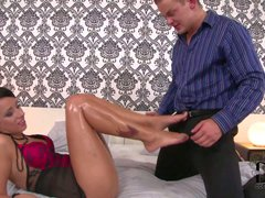 Laura Lee shows off her adorable long oiled up legs