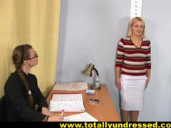 Blonde secretary's nude job interview
