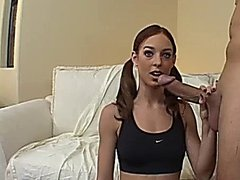 Riley's Pigtails Make Nice Handlebars During A Blow Job