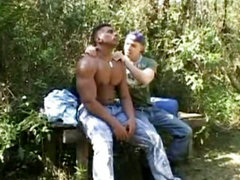 Two Muscle Guys Fuck In The Forest