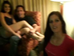 Nasty ladies group sex in a home party
