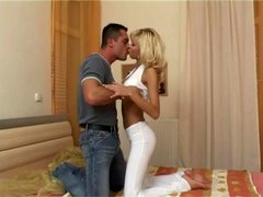 Blonde slut dressed in white is hot as hell