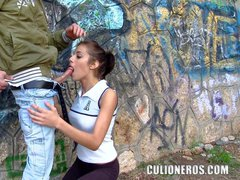 Hot sexy chick Ainhoa and a horny guy cruise the