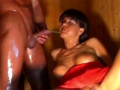 Mature doings deep-throat in sauna