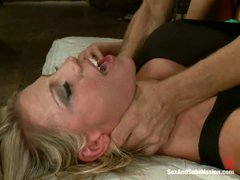 Submissive blonde Charisma Cappelli gets brutally fucked with her high