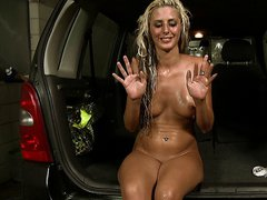 Sexy blond teen girl wash a car and gets fucked hardcore