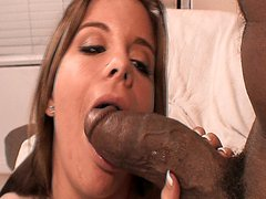 Sexy babe enjoys sucking and fucking big black cocks