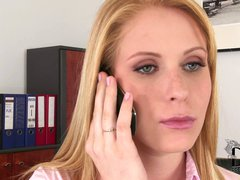 Blonde Amber Daikiri in skirt and blouse spends afternoon at