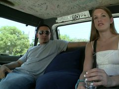 Easy girl Rebecca finds herself riding the BangBus with Bruno.