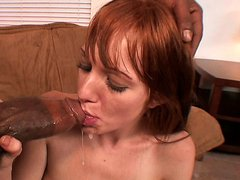 Redhead slut BEAUE MARIE tries out her very first big black cock