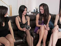 Four beautiful girls in a steamy lesbian sex orgy
