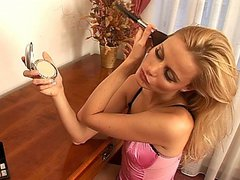 Smoking hot blonde in pink lingerie masturbates with a sex toy