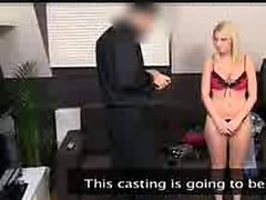 Hot blonde amateur babe getting fucked on the casting couch