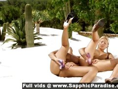 Daria and Christie lovely lesbo girls toying