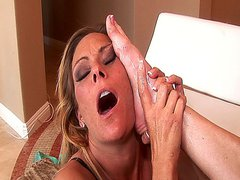 Two hot mature lesbian babes going at it with their dildos