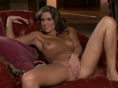 Adrienne Manning is with slender figure removes her blue panties