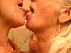 Two mature grannies get fucked by their younger lover