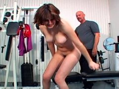 Slut gets her hairy pussy licked and fucked at the gym