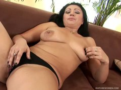 Dark haired mature lady Grace with shapeless juicy natural tits