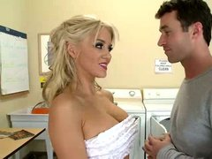 James Deen finds pretty big titted blonde Tia McKenzie masturbating