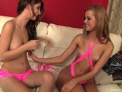 Two chicks Karina White and Jessie Rogers try on new