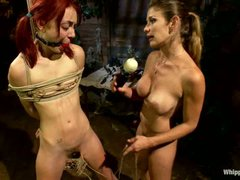 Naked pigtailed redhead Zoe Voss gets tied up and fucked